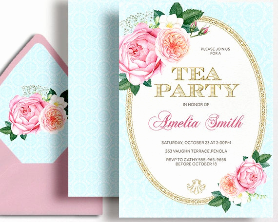 High Tea Invitation Wording Fresh Tea Party Invitation High Tea Birthday Party Pink Gold Rose