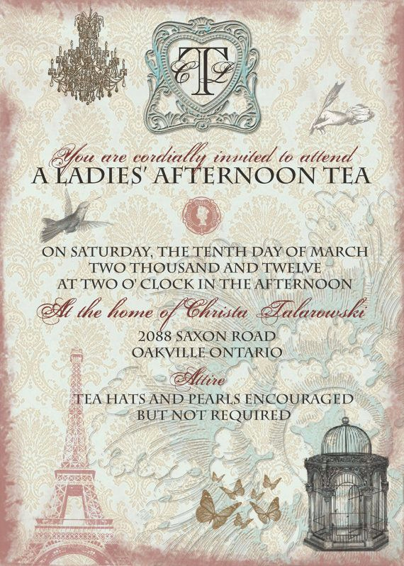High Tea Invitation Wording Lovely Vintage Tea Party Bridal Shower Invitation with by