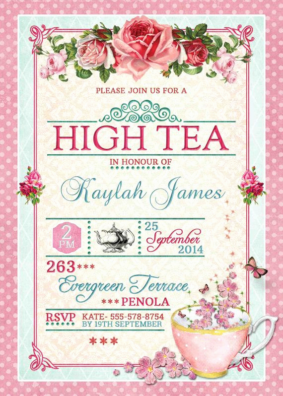 High Tea Invitation Wording Luxury High Tea Invitation Tea Party Invitation by