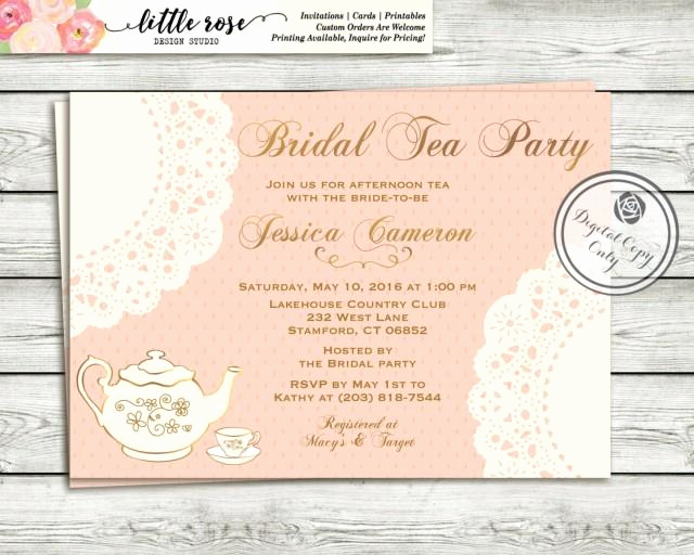 High Tea Invitation Wording Unique Tea Party Bridal Shower Invitation High Tea Invitation