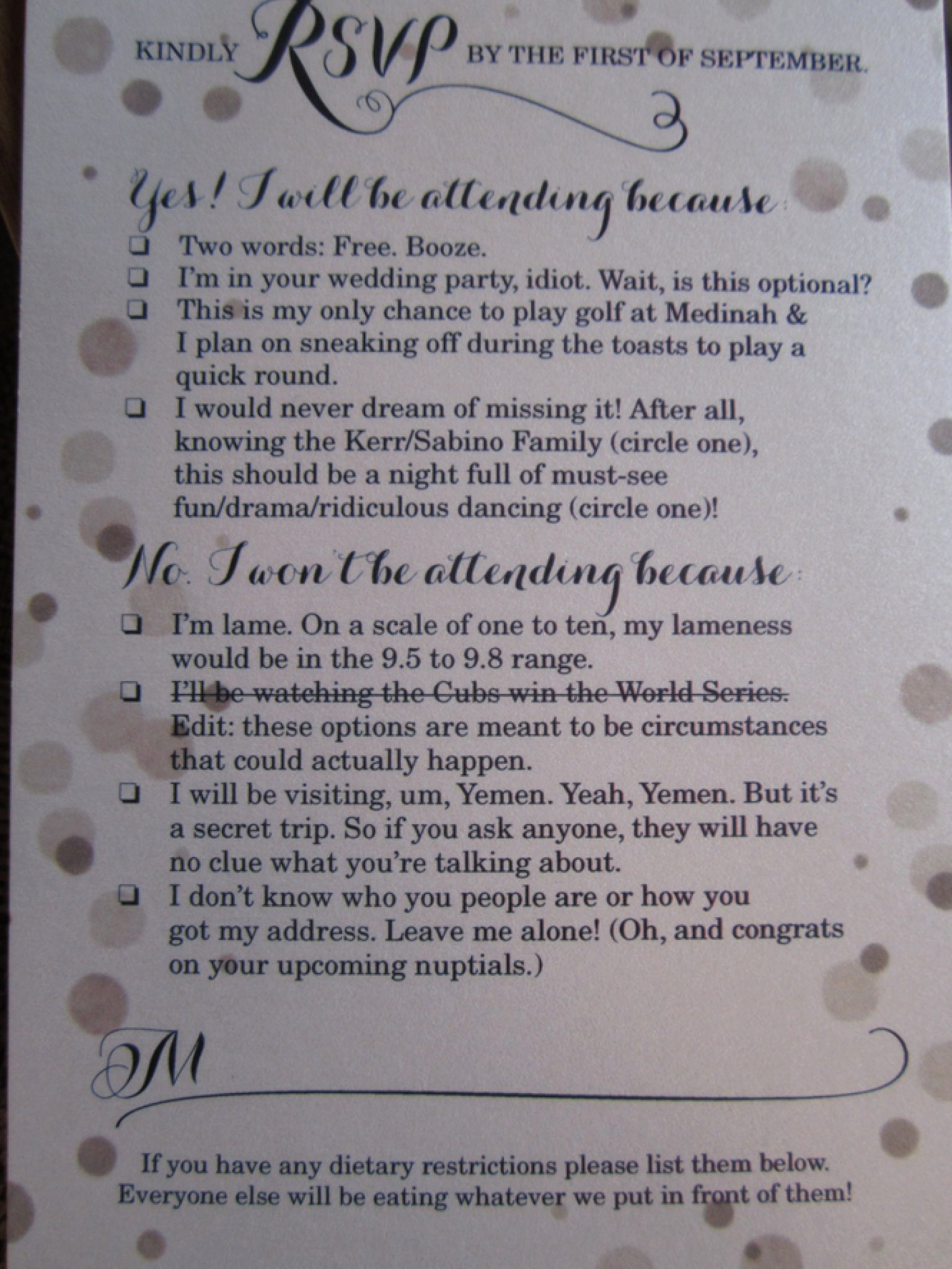 Hilarious Wedding Invitation Wording Luxury Funny Rsvp Card Shows F Couple S Sense Humor Photo