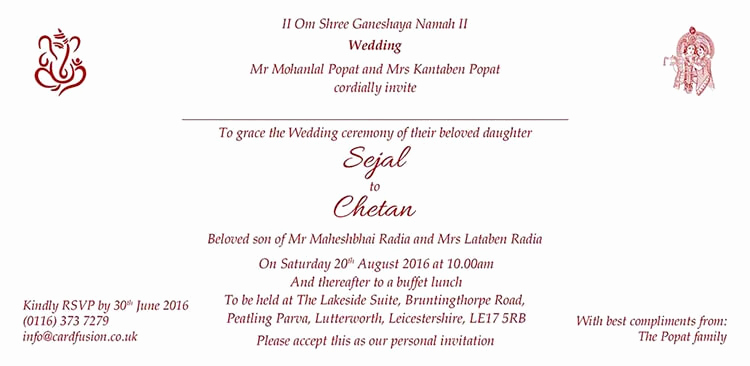 Hindu Wedding Invitation Wording Inspirational Hindu Wedding Invitation Wordings and Templates by Card Fusion