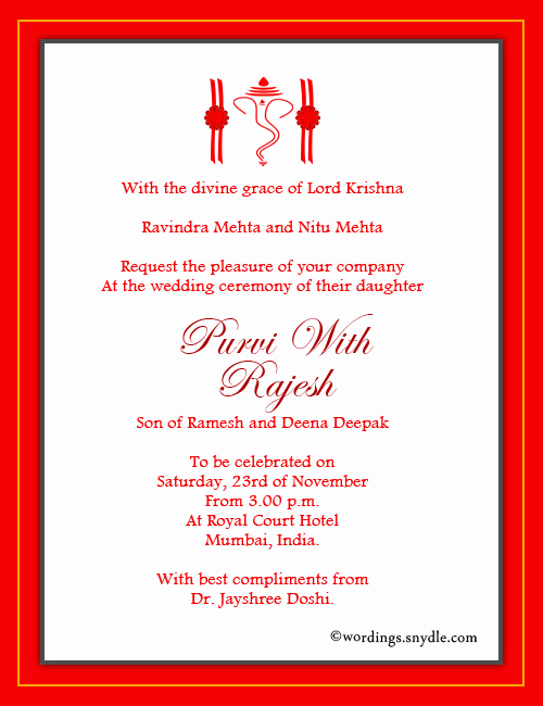 Hindu Wedding Invitation Wording Unique Indian Wedding Invitation Wording Samples Wordings and