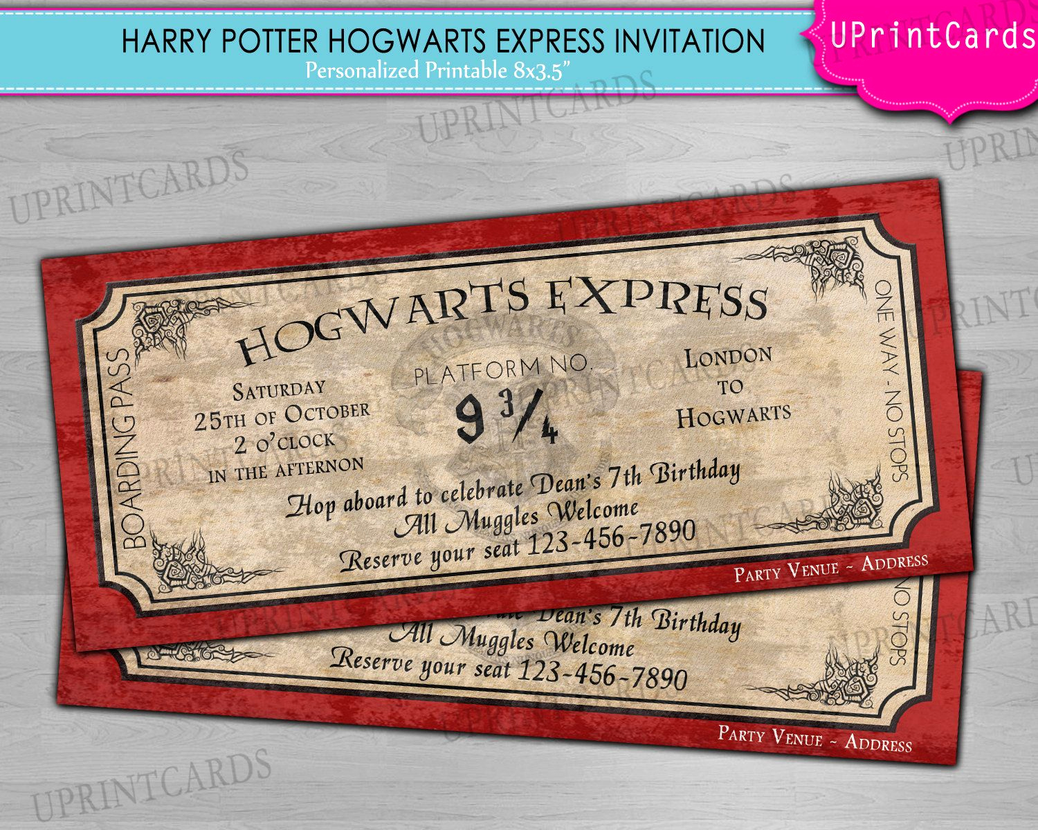 Hogwarts Birthday Invitation Template Beautiful Diy Printable Hogwarts Express Harry Potter Ticket