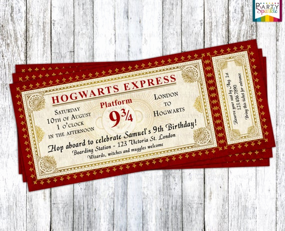 Hogwarts Birthday Invitation Template Beautiful Hogwarts Express Ticket Invitation Harry Potter Birthday