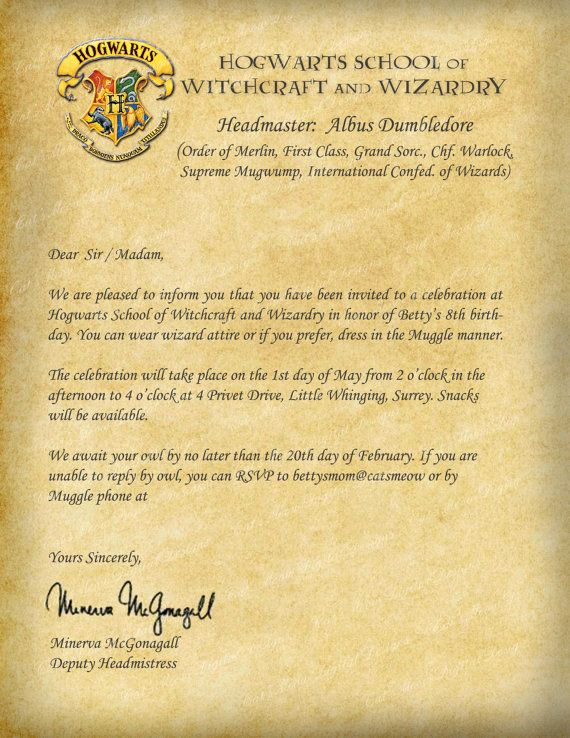 Hogwarts Birthday Invitation Template Elegant Harry Potter Hogwarts Printable Birthday by