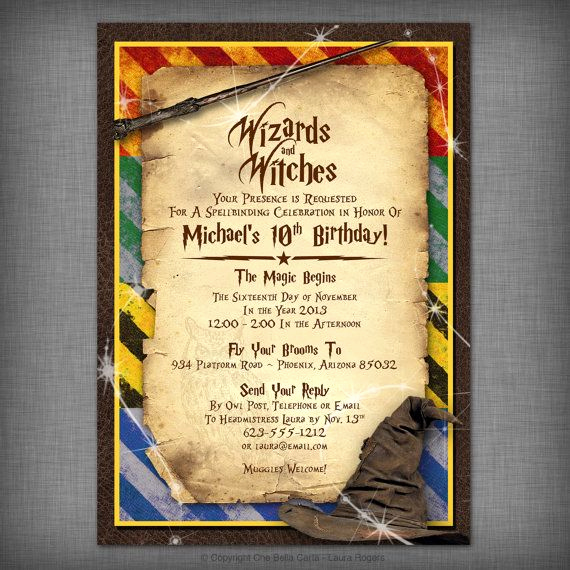 Hogwarts Birthday Invitation Template Elegant Witches & Wizards Printable Invitation