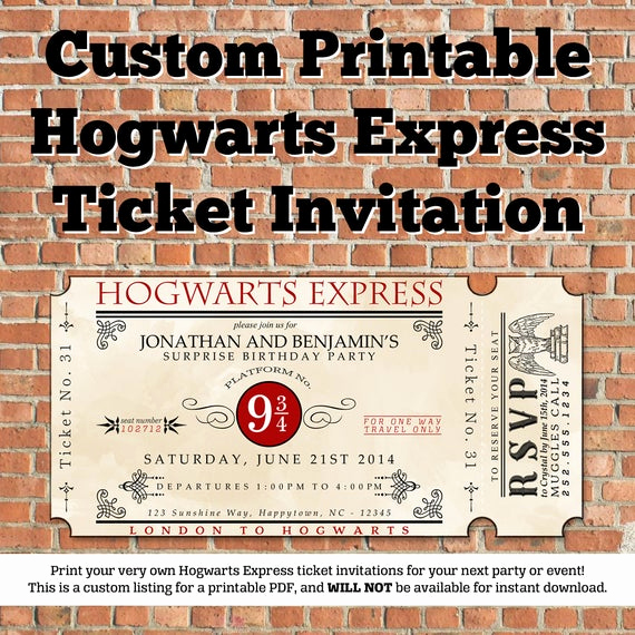 Hogwarts Birthday Invitation Template Inspirational Custom Printable Hogwarts Express Ticket Invitation