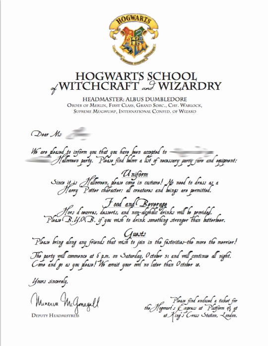 Hogwarts Birthday Invitation Template Lovely Best 20 Hogwarts Letter Template Ideas On Pinterest