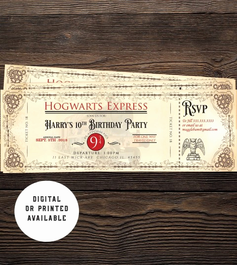 Hogwarts Birthday Invitation Template Lovely Free Printable Hogwarts Express Ticket Invitation Template