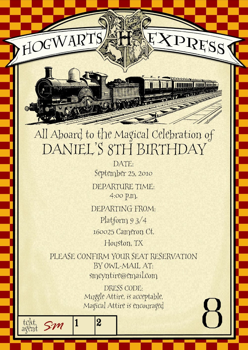 Hogwarts Birthday Invitation Template Luxury Printable Harry Potter themed Party Invitation by