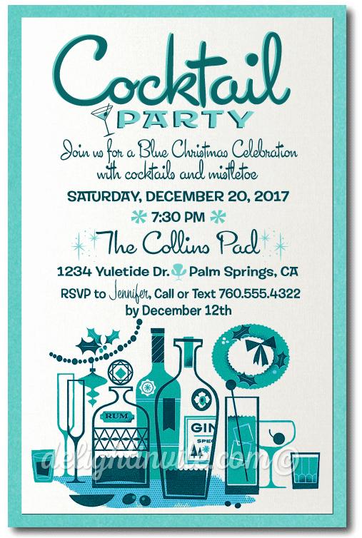 Holiday Happy Hour Invitation Elegant Retro Mid Century Modern Cocktail Holiday Party Invitation