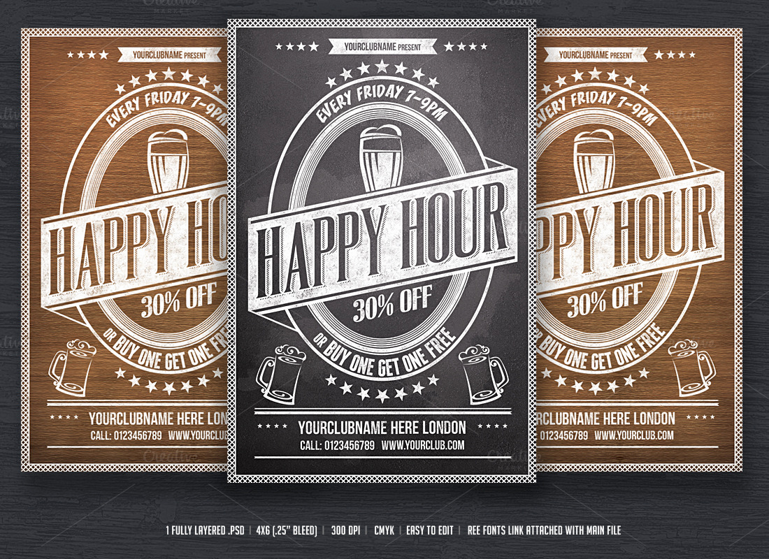 Holiday Happy Hour Invitation New Happy Hour Flyer Template Flyer Templates On Creative Market