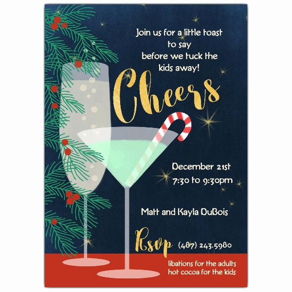 Holiday Happy Hour Invitation New Holiday Cheers Cocktail Party Invitations