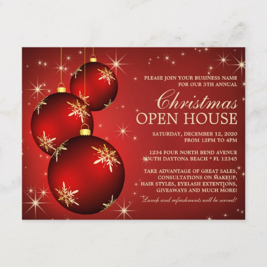 Holiday Open House Invitation Wording Awesome Elegant Christmas Open House Invitation Template