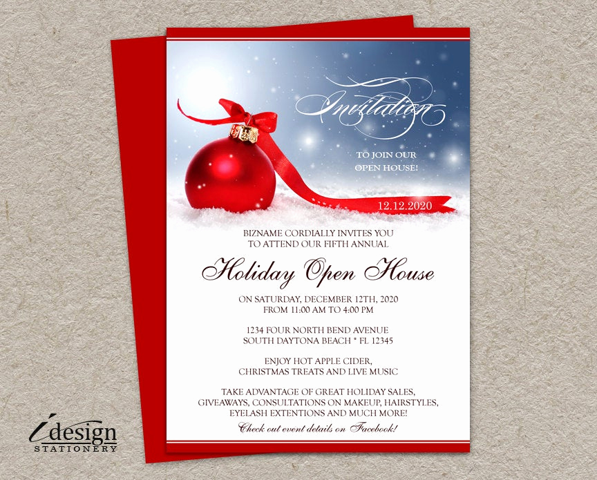 Holiday Open House Invitation Wording Awesome Holiday Open House Invitation for Business Store Festive