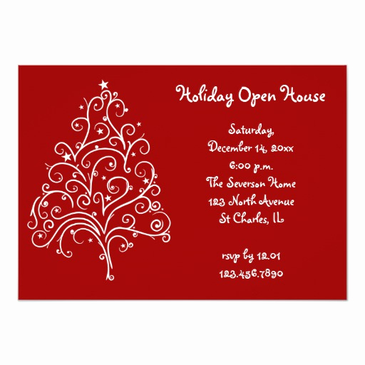 Holiday Open House Invitation Wording Awesome White Christmas Tree Holiday Open House Invitation