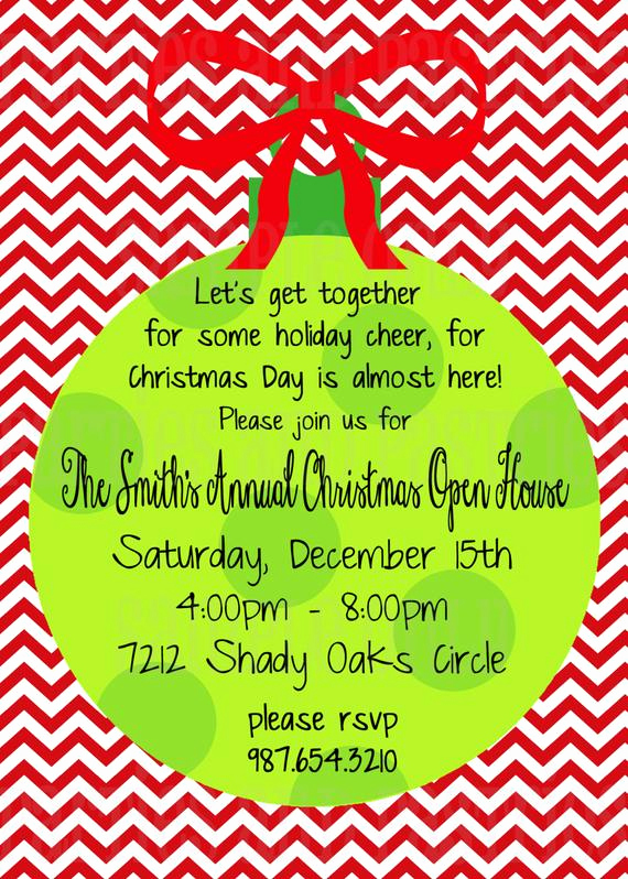 Holiday Open House Invitation Wording Elegant Christmas Open House Invitation Holiday Party Invitation