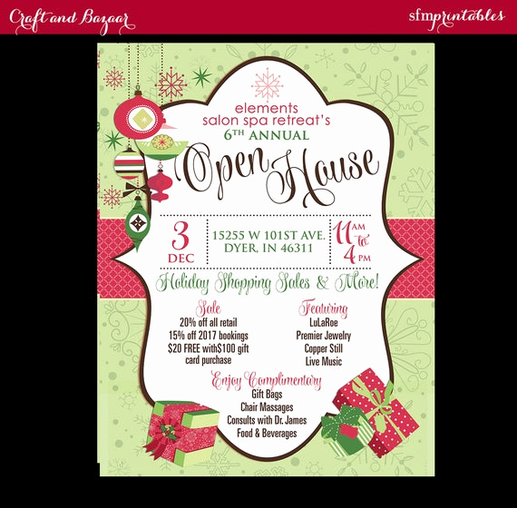 Holiday Open House Invitation Wording Elegant Open House Retail Salon Store Business Christmas Bazaar