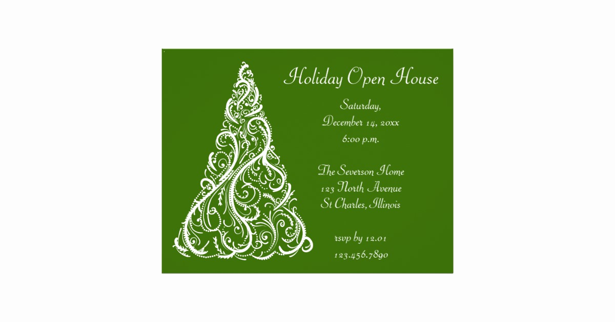 Holiday Open House Invitation Wording Fresh White Christmas Tree Holiday Open House Invitation Flyer