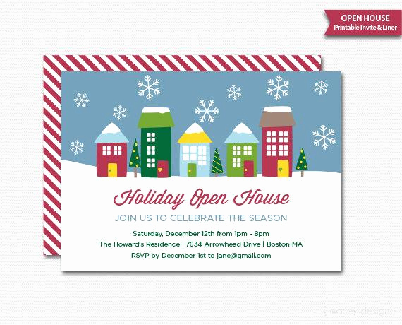 Holiday Open House Invitation Wording New Christmas Houses Holiday Open House Printable Invitation