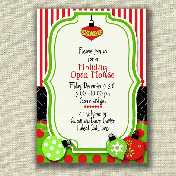 Holiday Open House Invitation Wording Unique Open House Holiday Christmas Whimsy ornaments Card Invitation