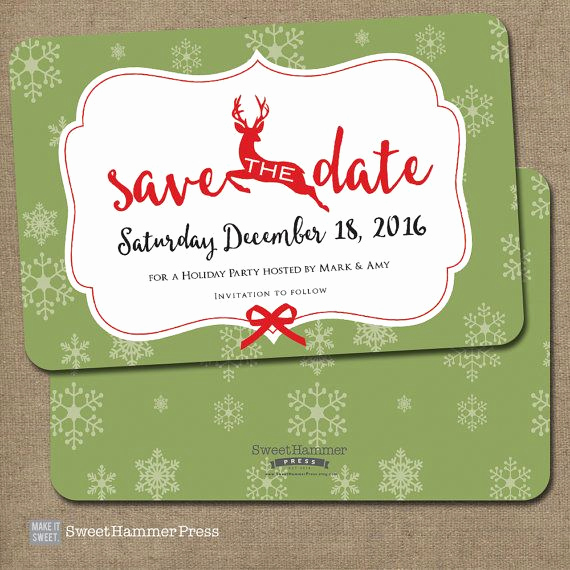 Holiday Party Invitation Ideas Awesome Reindeer Save the Date Christmas Party by Sweethammerpress