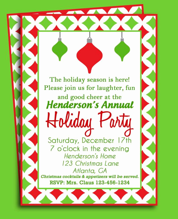Holiday Party Invitation Ideas Fresh Christmas ornament Invitation