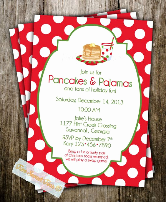 Holiday Party Invitation Ideas Lovely Pancakes and Pajamas Party for Kids