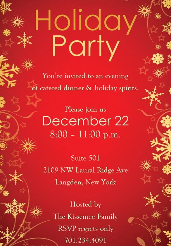 Holiday Party Invitation Template Awesome Free Christmas Party Invitation Templates