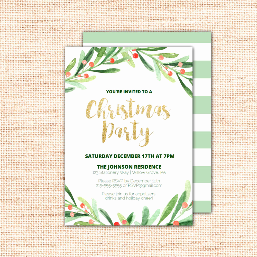 Holiday Party Invitation Template Best Of Holly Wreath Printable Christmas Party Invitation Template