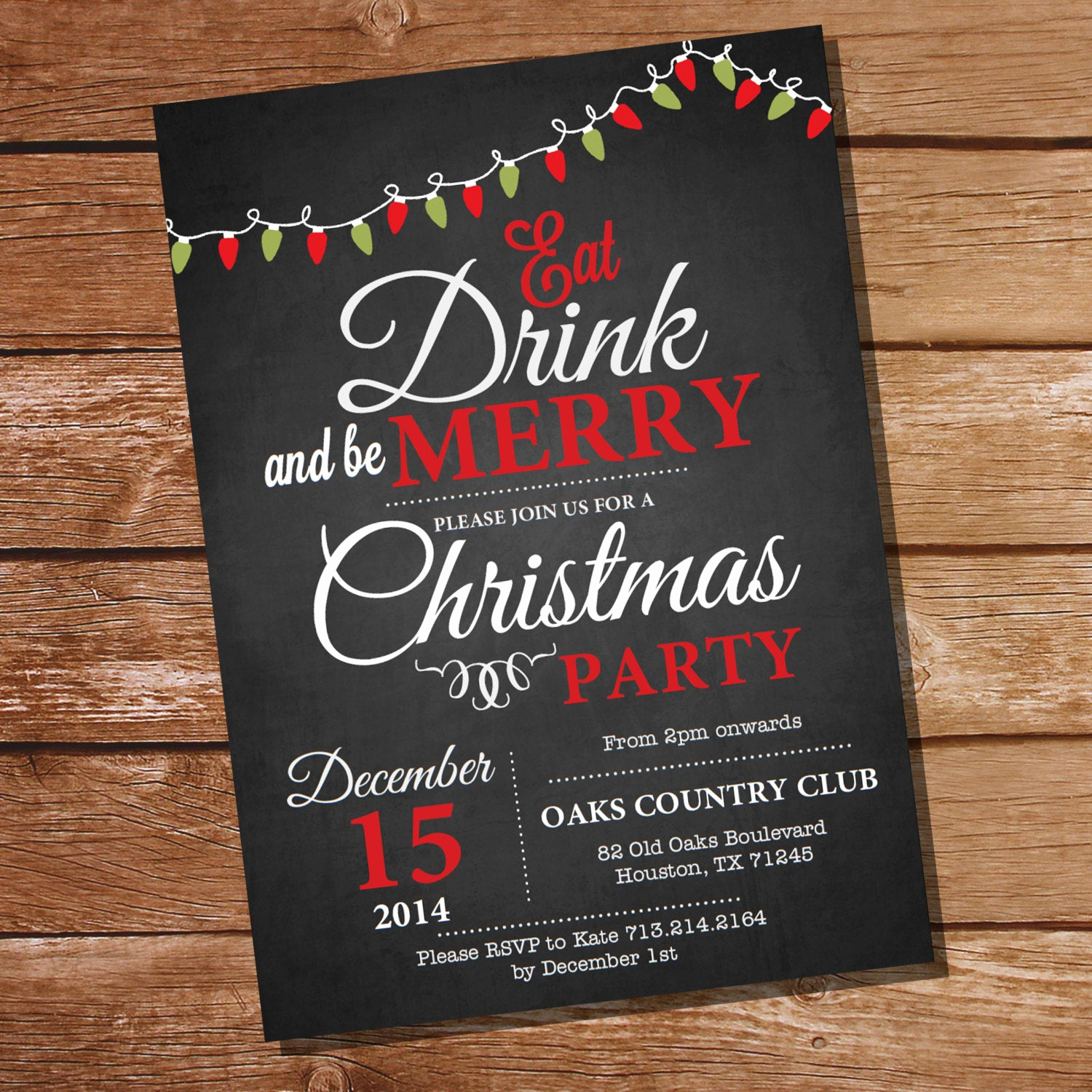 Holiday Party Invitation Template Fresh Chalkboard Christmas Party Invitation by Sunshineparties