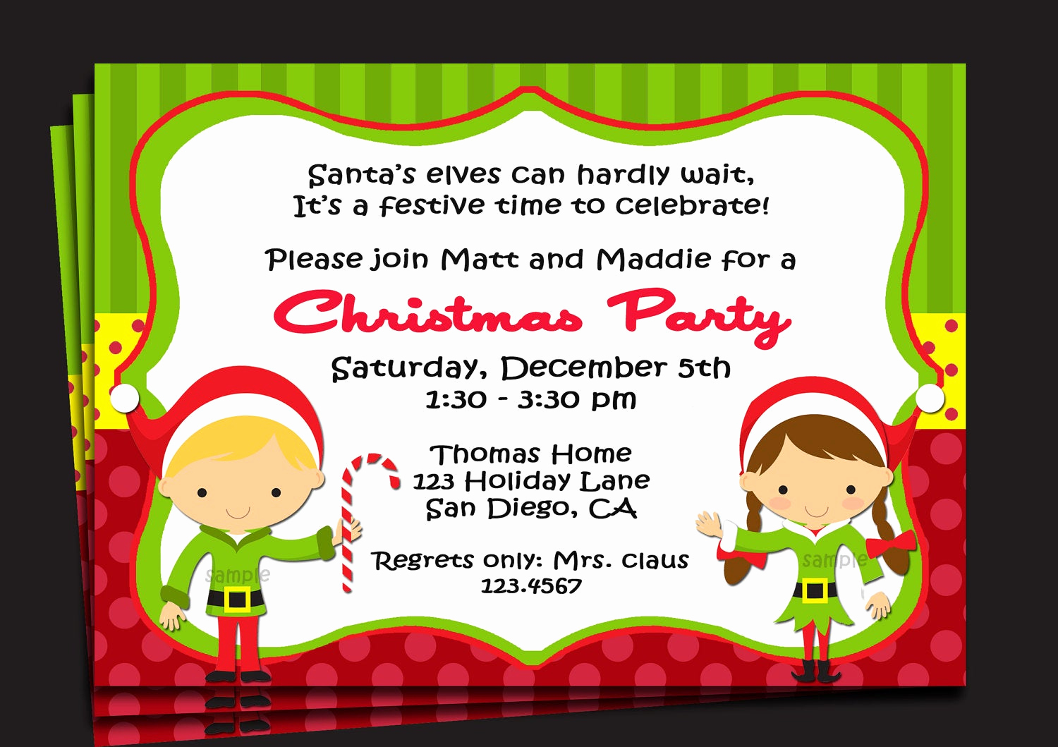 Holiday Party Invitation Template Inspirational Christmas Party Invitation Printable or Printed with Free
