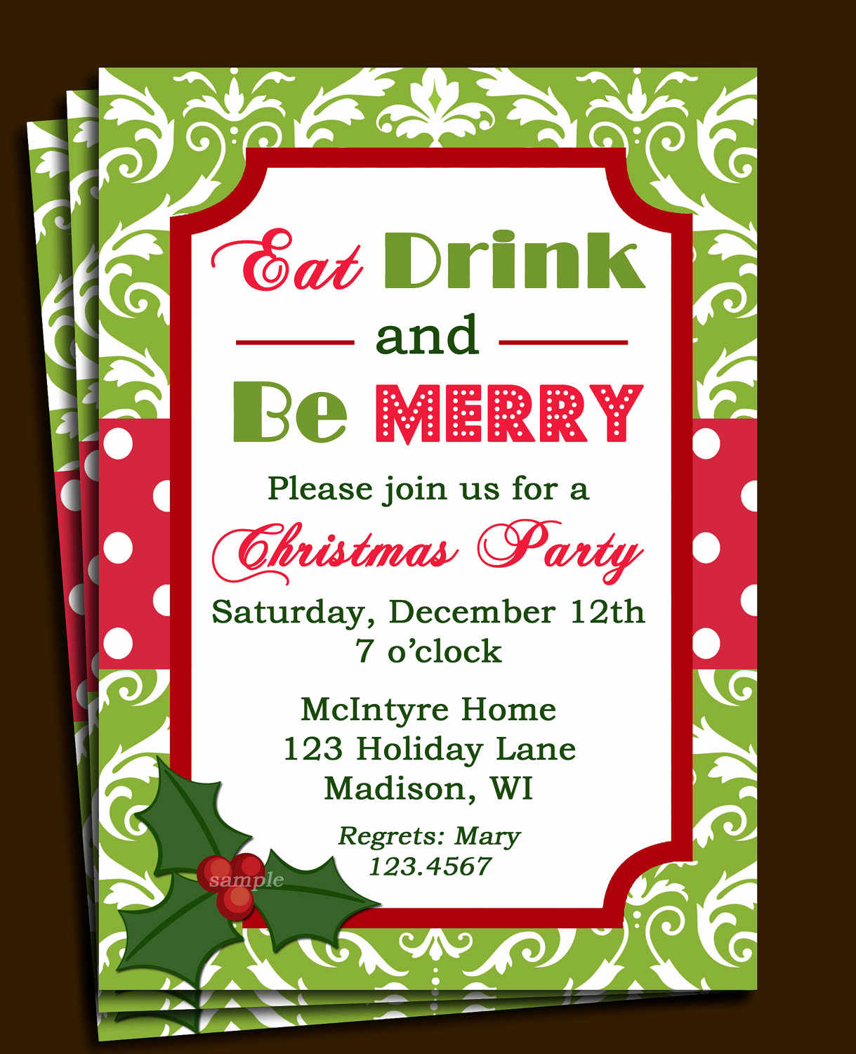 Holiday Party Invitation Template Unique Christmas Party Invitation Printable or Printed with Free