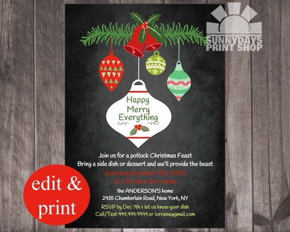 Holiday Potluck Invitation Wording Awesome Christmas Potluck Party Invitation Retro by Spicedappleparties