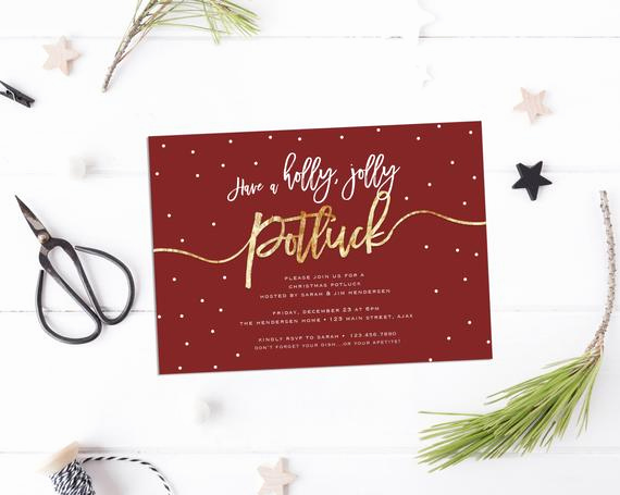 Holiday Potluck Invitation Wording Elegant Items Similar to Have A Holly Jolly Potluck Invite