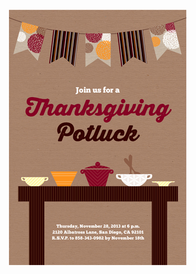 Holiday Potluck Invitation Wording Elegant Party Invitations Thanksgiving Potluck at Minted