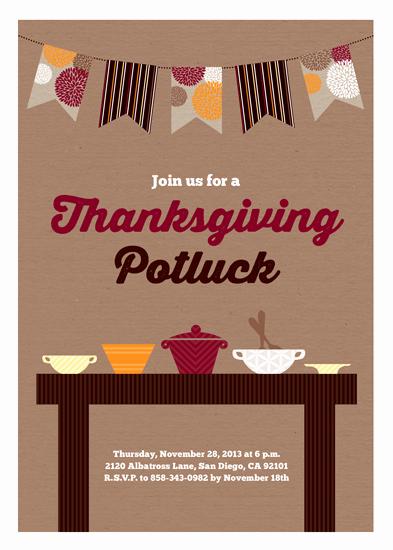 Holiday Potluck Invitation Wording Elegant Party Invitations Thanksgiving Potluck at Minted