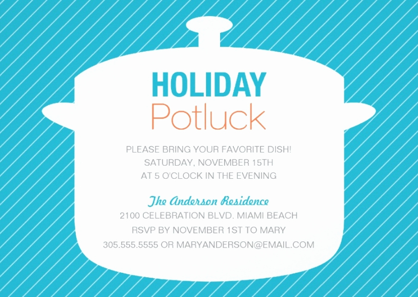 Holiday Potluck Invitation Wording Fresh 10 Potluck Party Invitations