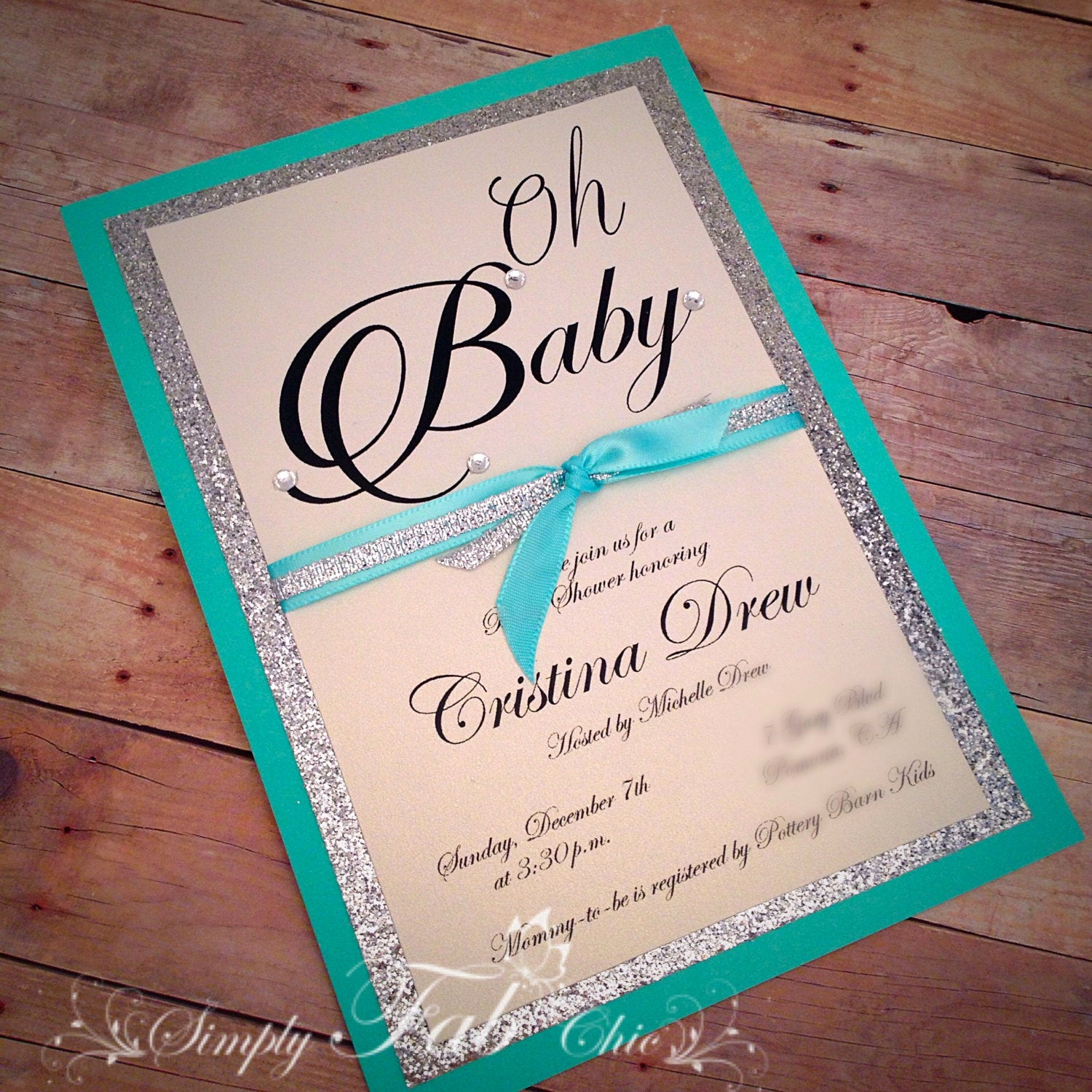 Homemade Baby Shower Invitation Ideas Fresh Custom Handmade Tiffany Turquoise & Silver Glitter Baby Shower
