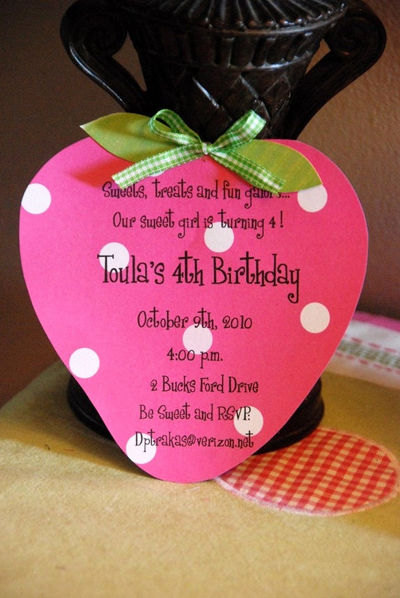Homemade Birthday Invitation Ideas Elegant Items Similar to 10 Strawberry Shortcake Birthday