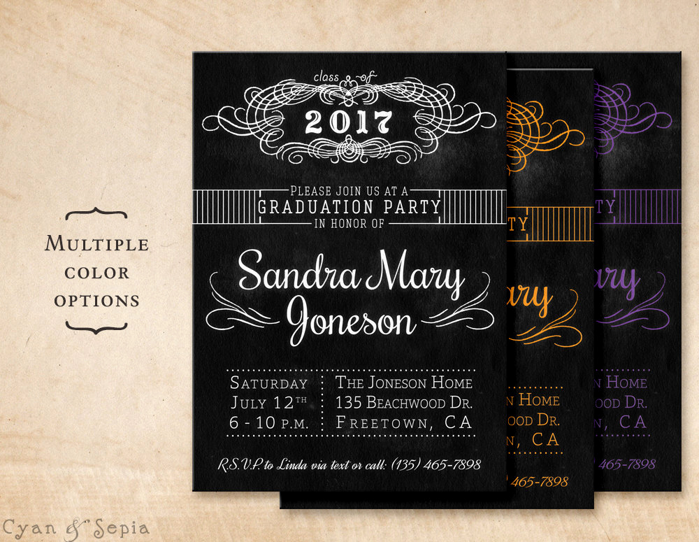 Homemade Graduation Invitation Ideas Inspirational Chalkboard Graduation Party Invitation Printable Diy
