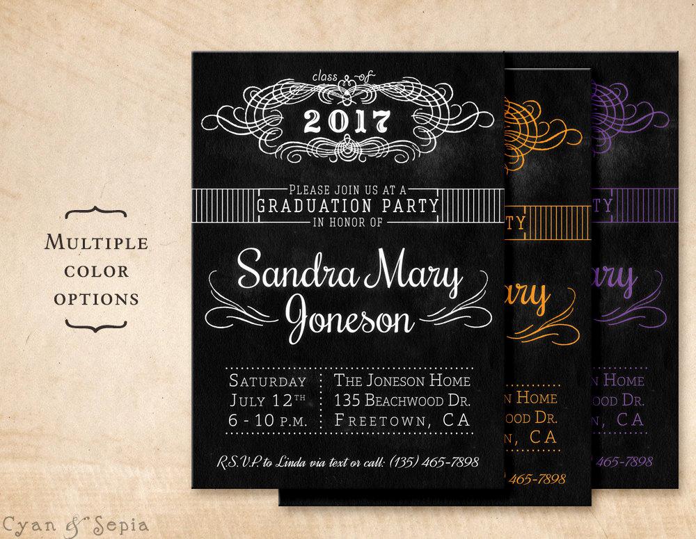 Homemade Graduation Invitation Ideas Inspirational Chalkboard Graduation Party Invitation Printable Diy