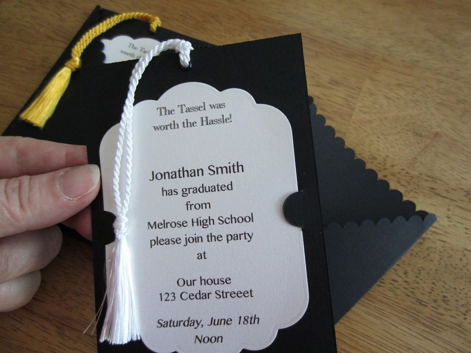 Homemade Graduation Invitation Ideas New Graduation Invitation Pullout Tag with Tassel School