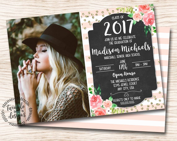 Homemade Graduation Invitation Ideas Unique Floral Graduation Invitation Pink Gold Black Rustic