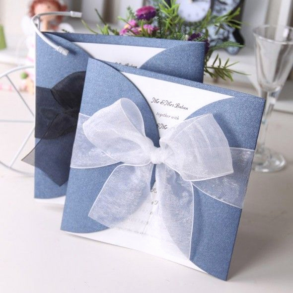 Homemade Wedding Invitation Ideas Elegant Wedding Invitation Card with Ribbon 590x590 Creative