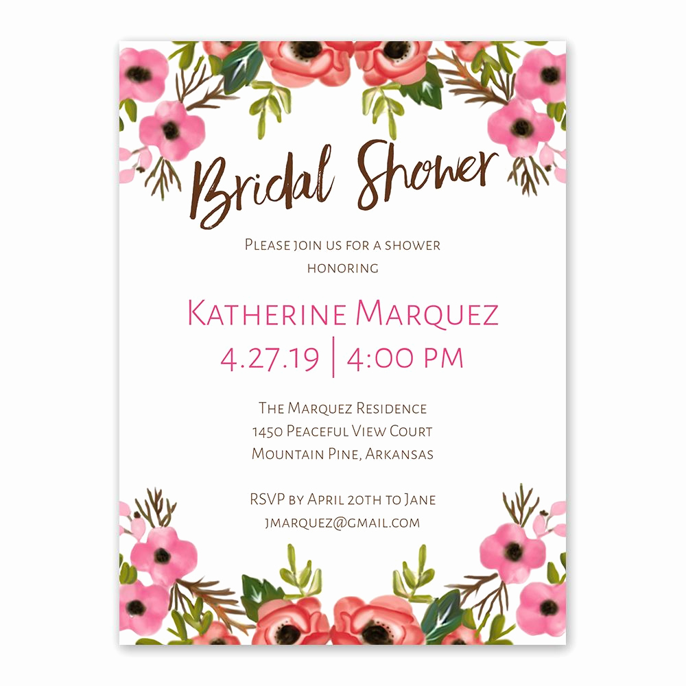 Honeymoon Shower Invitation Wording Fresh Blooming Beauty Bridal Shower Invitation