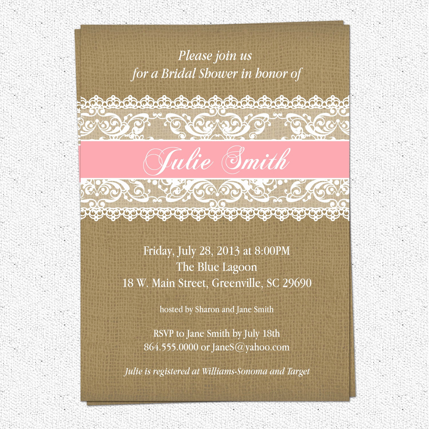 Honeymoon Shower Invitation Wording Lovely Burlap and Lace Bridal Shower Invitation Rustic Pick Your