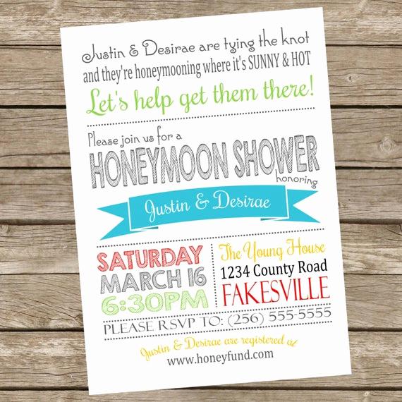 Honeymoon Shower Invitation Wording New Printable Honeymoon Shower Party Invitations 5x7 Typography