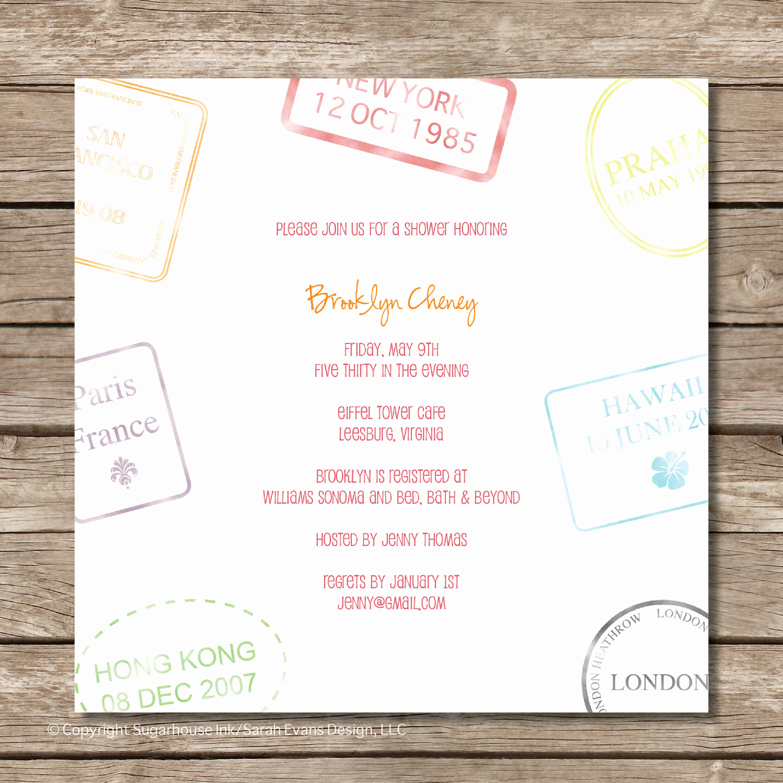 Honeymoon Shower Invitation Wording Unique Passport Stamp Bridal Shower Invitation Perfect by